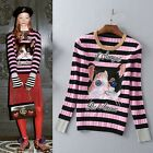 2016 New Arrivals High-end Pink Stripe Embroidery Cat Letter Stretching Sweaters