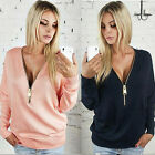 Ladies V-Neck Long Sleeve Hoodie Zip up Women's Jumper Pullover Blouse Tops New