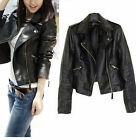 Women Slim Motorcycle PU Soft Leather Vintage Zipper Jacket Black Coat Outwear A