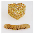 RHINESTONE CRYSTAL HEART SHAPED ARRAS BOX WITH 13 COINS TOKENS SET FOR WEDDING