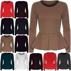 Womens Plain Ladies Stretchy Long Sleeve Flared Top Peplum Frill Mini Dress