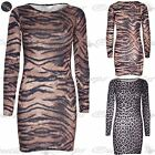 New Womens Ladies Animal Print Stretchy Long Sleeve Bodycon Mini Tunic Dress Top