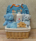 NATURAL WICKER BASKET Nursery Storage Gift Hamper Basket & CREAM Cotton Lining