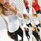 Sexy Womens Casual Cotton Long Sleeve Shirt Lace Splice Blouse Slim Tops T Shirt