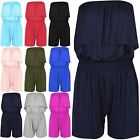 Womens Jumpsuit Ladies Short Bandeau Strapless Boob Tube Jersey Stretch Playsuit