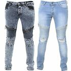 Seven Series Mens Branded Knee Ripped Zip Pockets Whiskers Faded Biker Jeans