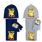 Boys Pokemon Hat And Scarf Set With Gloves Kids Winter Warm Marvel 3-10 Years