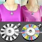1X Flower Round Disc Snap Charm Pendant for Buckle Punk Style Necklace DIY