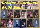 CLYDE DREXLER _ 6 Different 3-Card Lots _ Promo & Limited-Print _ Very Nice