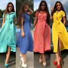 New Women Short Sleeve Casual Shirt Dress Party Evening Cocktail Long Maxi Dress