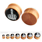 Pair Solid Wood Middle Finger Punk Tunnels Ear Saddle Plug Stretcher Expander