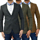 Mens Swade Blazer Jacket Designer Heritage Checkered Herringbone Tweed Wool Suit