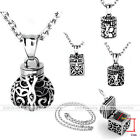 Retro Stainless Steel Openable Guard Locket Pendant Chain Antique Necklace Gift