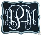 Customize Embroidered Vine Font Initial Monogram Iron On Applique Patch