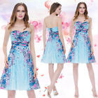 Ever-Pretty Women's Short Floral Printed Blue Casual Party Cocktail Dress 05498
