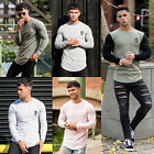 Mens Gym King T Shirt Designer Long Sleeve Jersey Longer Drop Slim Fit Tee Top H