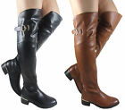 NEW LADIES WOMEN GUSSET OVER THE KNEE LOW HEEL FLAT BIKER BOOT SIZE 3 - 8