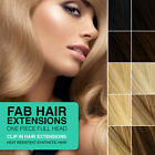 "FAB OnePiece Clip-In Heat Resistant Synthetic Hair Extensions 18"" Full Head 240g"