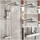 Modern Rainfall Twin Head Square Exposed Thermostatic Riser Shower Mixer Set 52
