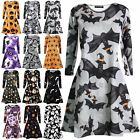 Womens Halloween Scary Bat Pumpkin Spider Swing Dress Ladies Smock Skater Dress