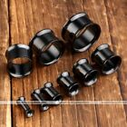 2pc Stainless Steel Flare Hollow Black Ear Tunnels Stretchers Piercing Jewellery