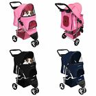 4 Wheel Dog Cat Pet Travel Stroller Folding Carrier Zipper Light Weight Blue Red