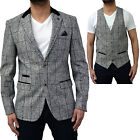 Mens Marc Darcy Tweed Designer Blazer Waistcoat Formal Casual Dinner Jacket New