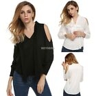 Womens Ladies V-neck Long Sleeve Off Shoulder Casual Solid Top Blouse New K0E1