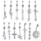 Fashion Women 14g Clerar Crystal Dangle Belly Button Ring Navel Barbell Piercing