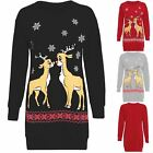 Womens Ladies Christmas Two Reindeer Long Dress Sweatshirt Jumper Top Plus Size