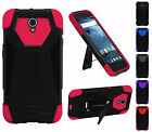 For ZTE Avid Trio ZTE Cheers Premium Hybrid Dual Layer T Kickstand Cover Case