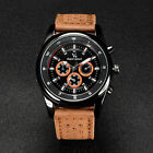 New Trendy Men's Business Casual Chronograph Quartz Sports Watches Leather Band