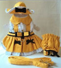 Adorable Dog Harness Dress, Hat, Leash, Panty BUSY BEE - XS