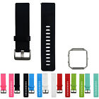 Metal Frame Soft Silicone Wrist Band Strap for Fitbit Blaze Smart Watch New