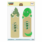 Set of 2 Glossy Laminated Triceratops T-Rex Dinosaurs Bookmarks Names Male Wa-Wy