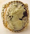Grecian Goddess Large Cameo Ring 14k Rolled Gold Coffee