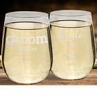 NEW! Beautiful Stemless HIS & HERS White Wine Glasses! Libbey Wine Glasses