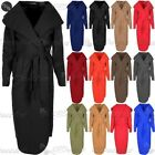 New Womens Belted Turn Up Ladies Waterfall Knitted Duster Cape Trench Cardigan