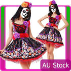 Ladies Day of the Dead Sugar Skull Halloween Zombie Scary Fancy Dress Costume