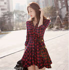 Womens Spring Casual Red Long Sleeve Plaid Grid Babydoll Mini Shirt Dress Hot