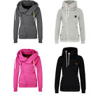 Women Ladies Sports Personality Side Zipper Coat Hooded Cardigan Sweater Jacket