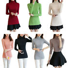 Women Ladies High Neck Elastic Slim Mercerized Cotton Knitted Pullover Sweater