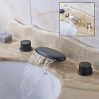 Bathroom Deck Mounted Basin Sink Faucet Waterfall Spout Dual Knobs Sink Mixer