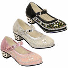Girls Kelsi Shoes Kids Diamante Velcro Block Heel Infants Toddlers Casual New