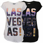 Ladies Top Womens T Shirt Las Vegas Print Roll Up Cap Sleeved Casual Fashion New