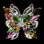GORGEOUS NATURAL FANCY COLORS TOURMALINE,RUBY 925 SILVER BUTTERFLY RING SIZE 8