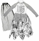 Girls Halloween Horror Corpse Bride Costume Fancy Dress & Veil Set 5 to 10 Years