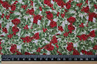 Gold Holly Leaf BOWS Christmas Fabric material 100% cotton Patchwork crafting