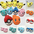 Pokemon Go Soft Plush Slippers Unisex Warm Furry Indoor Home Shoes Costume Gifts