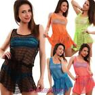 Cover-up Robe Woman Moda Minidress Network Perforated Transparent Fluo Ds3008